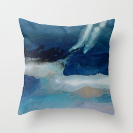DEEP - Ocean art Resin painting, abstract seascape, coastal painting Throw Pillow
