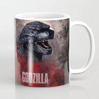 godzilla Mugs featuring Godzilla by Denda Reloaded