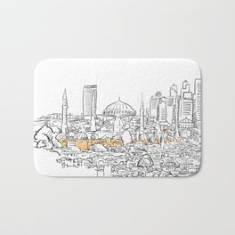 Modern and old Istanbul panorama drawing Bath Mat
