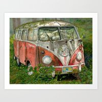 volkswagon Art Prints featuring VW Bus in the Woods by Barb Laskey Studio