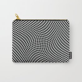 Black And White Mesh Twist Carry-All Pouch