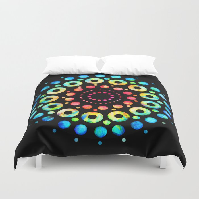 Multi Color Mandala Tie Dye Circle Shapes Duvet Cover