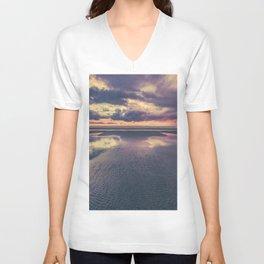 Stormy Beach Sunset Unisex V-Neck