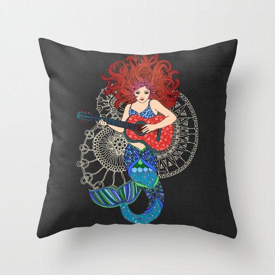 Musical Mermaid Throw Pillow