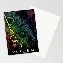 Mannheim, Germany, City, Map, Rainbow, Map, Art, Print Stationery Cards