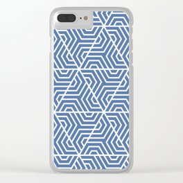 Blue yonder - blue - Geometric Seamless Triangles Pattern Clear iPhone Case