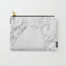 White marble hexagonal beehive Carry-All Pouch