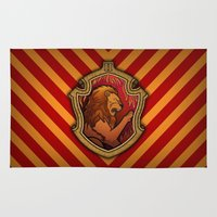 gryffindor Area & Throw Rugs featuring Hogwarts House Crest - Gryffindor by Teo Hoble