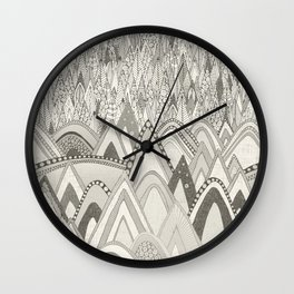 mountains and trees mono Wall Clock