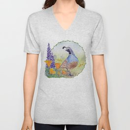 California Quail with Poppies and Lupine Unisex V-Neck