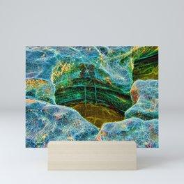 Abstract rocks with barnacles and rock pool Mini Art Print