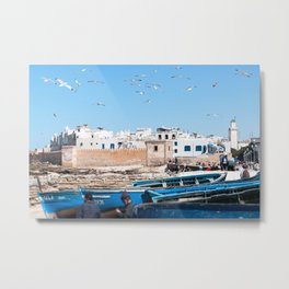 Blue Fishing boats and seagull in Essaouira - Morocco Metal Print