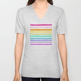 Rainbow Stripes Unisex V-Neck