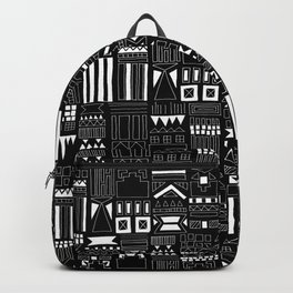 Black and White Stripes and Shapes Pattern Backpack