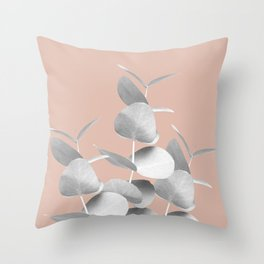 Eucalyptus Leaves Gray White Pale Terracotta #1 #foliage #decor #art #society6 Throw Pillow