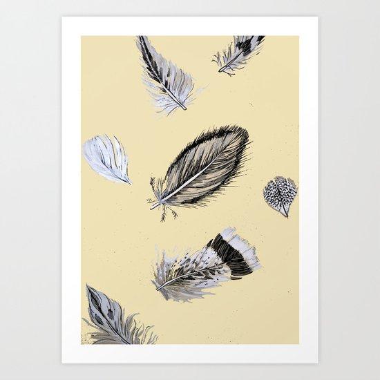 Creamy feathers Art Print