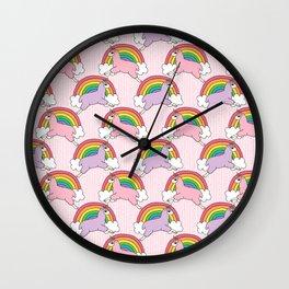 Llamacorns (Llama Unicorns) and Rainbows Wall Clock