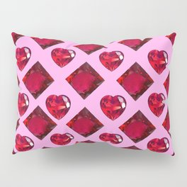 ENCRUSTED RUBY JEWELED  VALENTINE HEARTS  DESIGN Pillow Sham