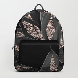Gray Black Agave with Rose Gold Glitter #1 #shiny #tropical #decor #art #society6 Backpack