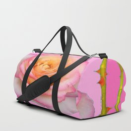 ROSE & RAMBLING THORNY CANES PINK BORDER PATTERNS Duffle Bag