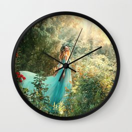 Fantasy princess enjoys summer nature. Vintage long dress flies fluttering in wind. Woman smile happy face. Spirituality divine light sun shine freedom concept, perfume aroma flowers natural cosmetics Wall Clock