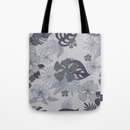 Blue gray palm leaves and hibiscuses. Tote Bag