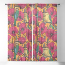 Bee eaters and poppies on orange Sheer Curtain