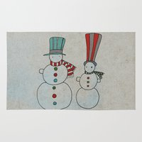 calendar Area & Throw Rugs featuring Snowmen by Päivi Hintsanen
