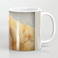 golden retriever Mugs featuring Happy Golden Retriever  by MyLove4Art