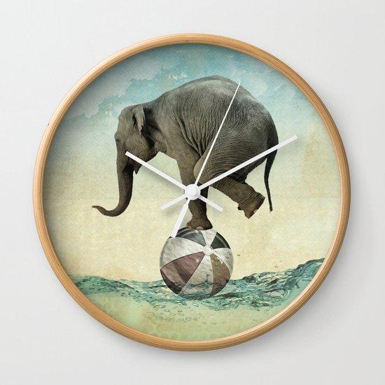 Elephant at Sea Wall Clock