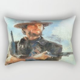 Portrait of Clint Eastwood Rectangular Pillow