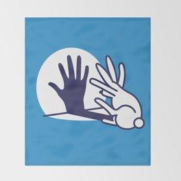 hand shadow rabbit Throw Blanket