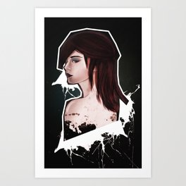 The girl with the rad hair Art Print