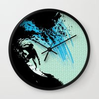 surfing Wall Clocks featuring Surfing by CSNSArt