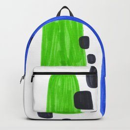 Lime Green Blue Mid Century Modern Abstract Minimalist Art Colorful Shapes Vintage Retro Style Backpack