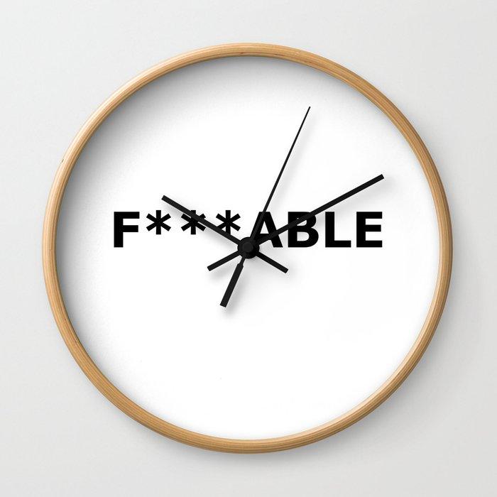F***able Black Wall Clock