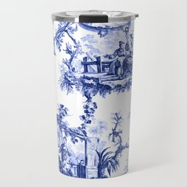 Blue Chinoiserie Toile Travel Mug