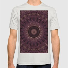 Mandala in dark purple and golden colors T-shirt