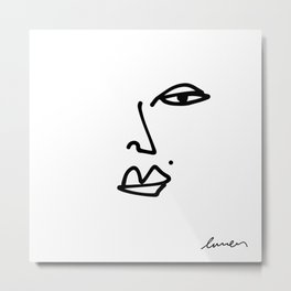 Ella Contour Line Drawing Metal Print