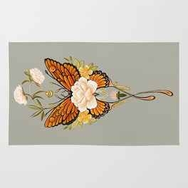 Butterfly Peonies Tattoo Rug