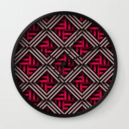 Op art rhombuses on fire Wall Clock