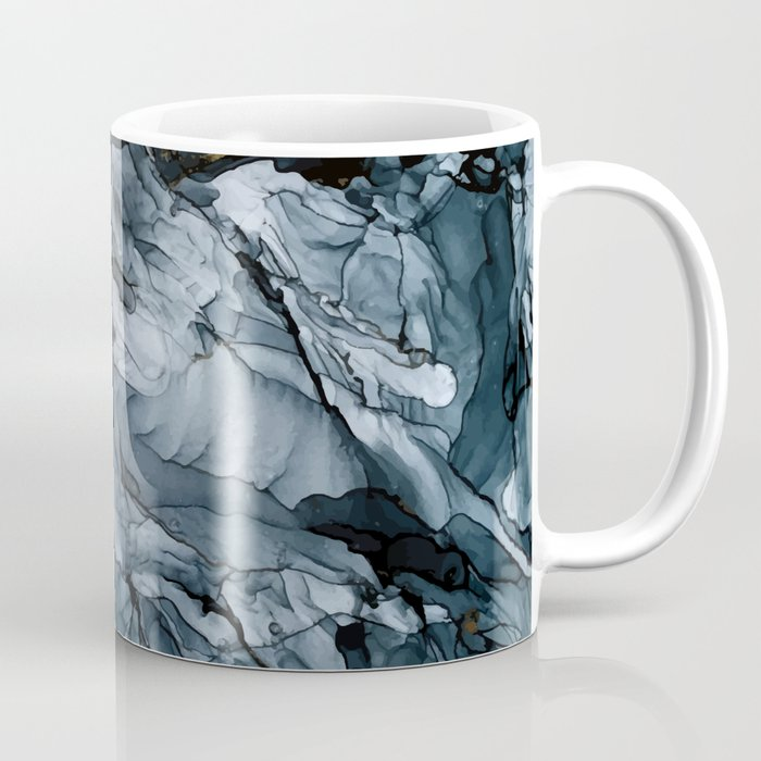 Dark Payne's Grey Flowing Abstract Painting Kaffeebecher
