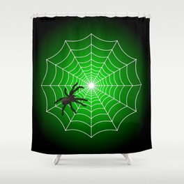 White Spider Web With Spider on Acid Green and Black Shower Curtain