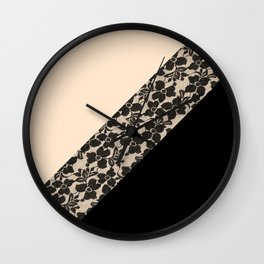 Elegant Peach Ivory Black Floral Lace Color Block Wall Clock