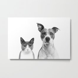 Cute Kitty Cat And Puppy Portrait Art Print, Cat And Dog Animal Nursery, Baby Animals Wall Art Decor Metal Print