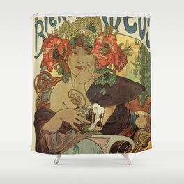 Alfons Mucha art nouveau beer ad Shower Curtain