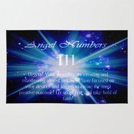 111 Angel Numbers Blue Motivational Affirmation Rug