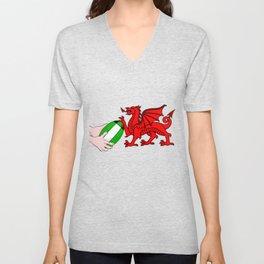 Wales Rugby Flag Unisex V-Neck