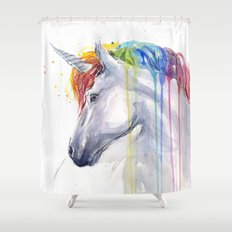 Rainbow Unicorn Watercolor Animal Magical Whimsical Animals Shower Curtain