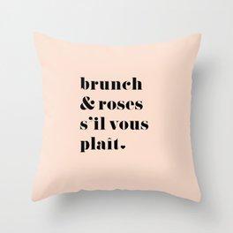 Brunch & Roses Throw Pillow